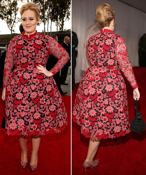 Adele 2013 Grammy Valentino flowery red dress