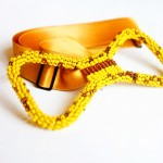 adorable yellow beaded bow tie by Innocent Creationz