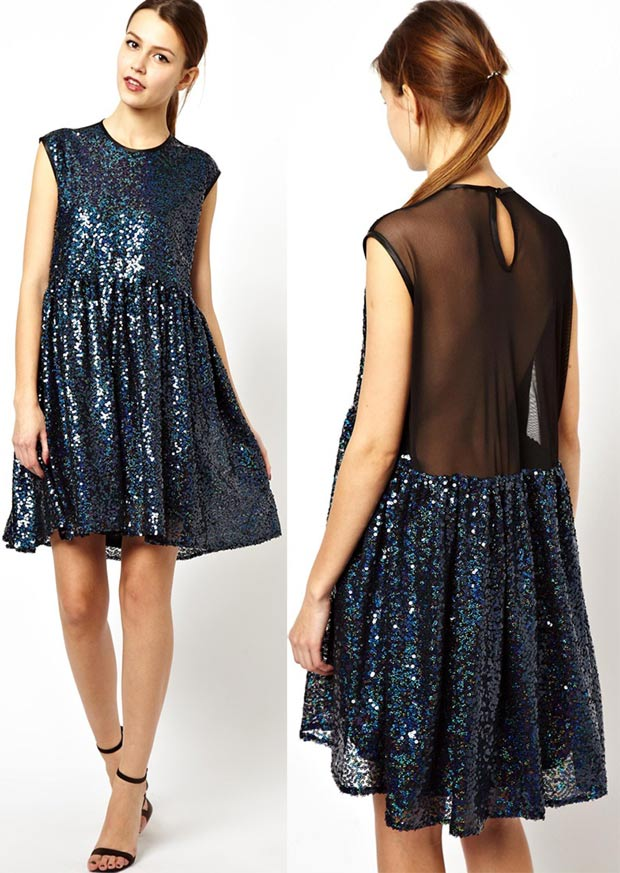 affordable party sequined dress blue asymmetrical