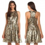 affordable party sequined dress gold on black