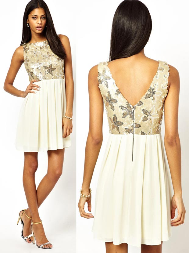 affordable party sequined dress white flowers top