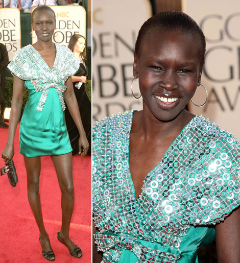 Alek Wek's Christian Dior Dress At The Golden Globes 2009