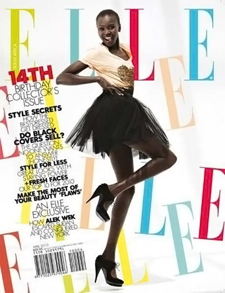 Alek Wek Elle Africa April 2010 cover