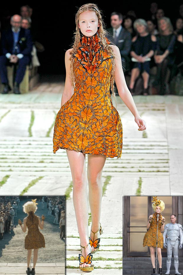 Alexander McQueen butterfly dress worn by Effie Trinket