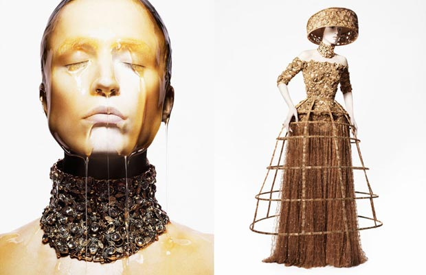 Raquel Zimmerman's Honey Treatment For Alexander McQueen Spring 2013 Campaign
