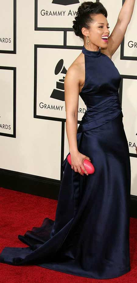 Alicia Keys blue armani dress 2008 grammy awards