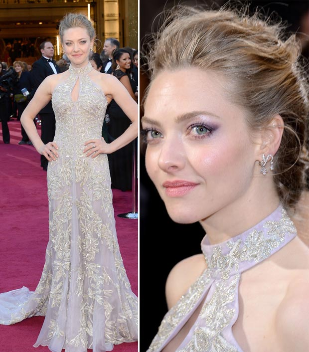 Amanda Seyfried light lavender McQueen dress 2013 Oscars