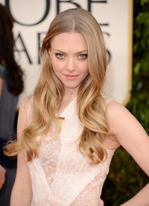 Amanda Seyfried makeup hair 2013 golden globes