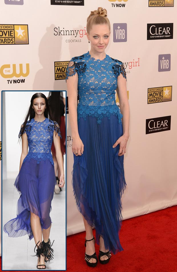 Amanda Seyfried Marios Schwab blue dress Critics Choice Awards 2013