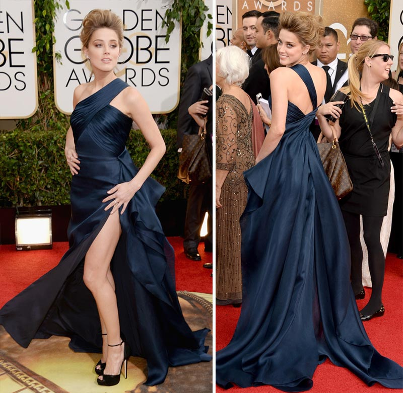 Amber Heard leg slit Golden Globes Red Carpet