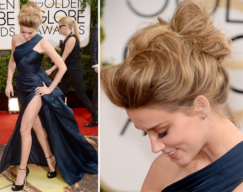 Amber Heard Versace dress hairdo Golden Globes 2014