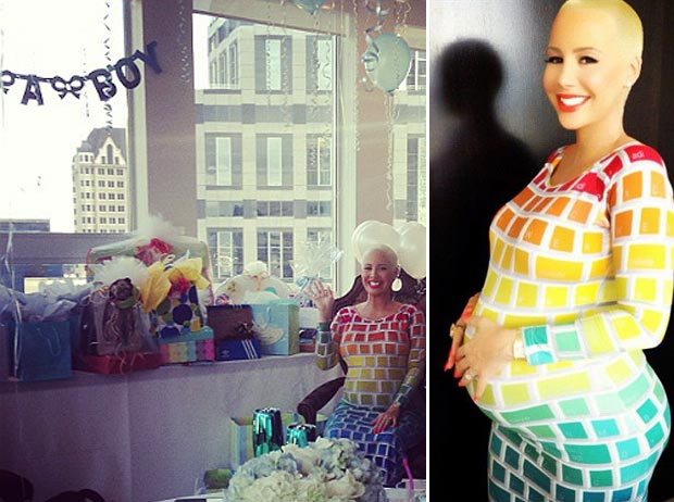 Amber Rose baby shower Jeremy Scott Keyboard dress