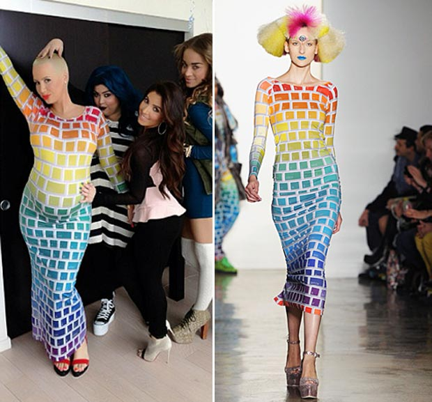 Amber Rose Jeremy Scott Rainbow Keyboard dress
