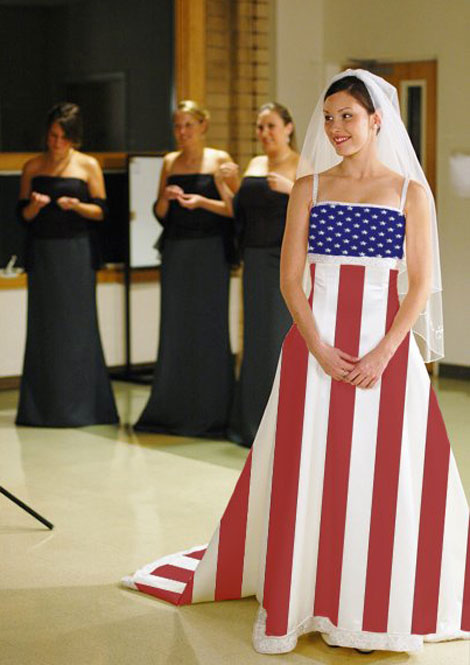 American flag wedding dress