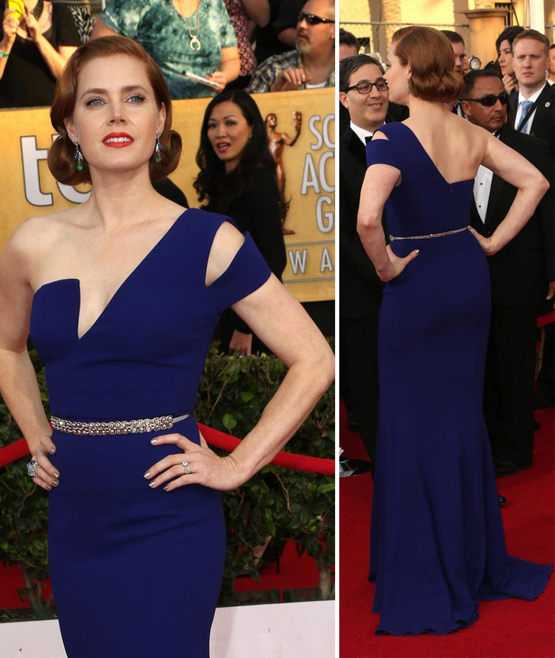 Amy Adams blue Antonio Berardi dress 2014 SAG Awards