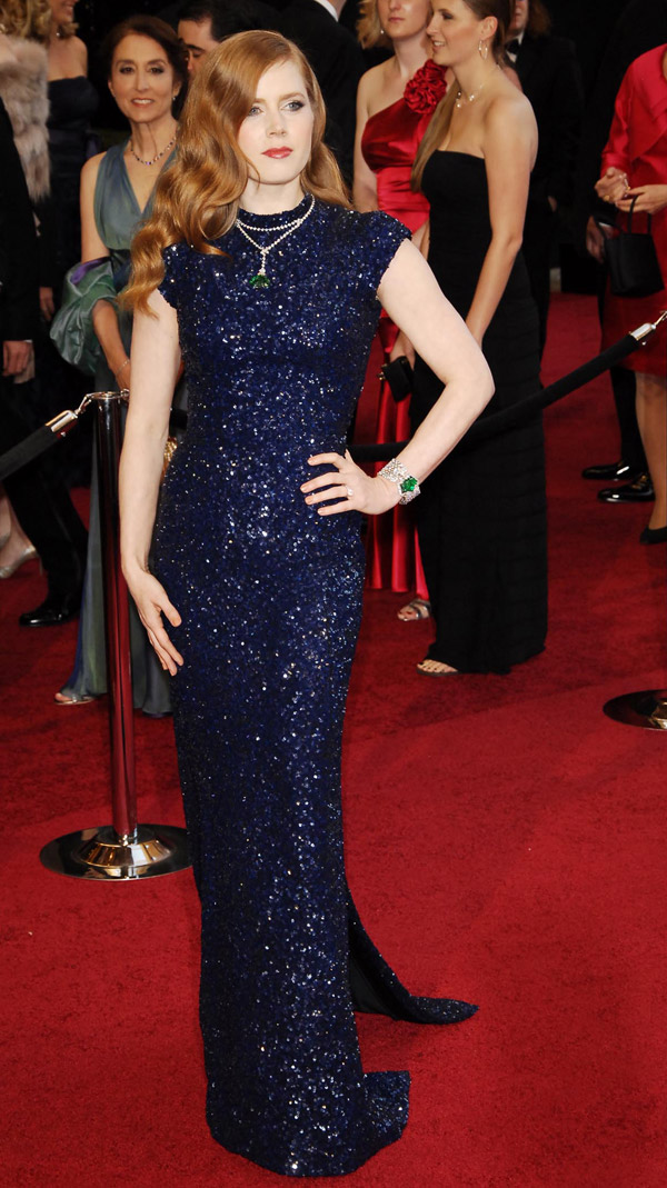 Amy Adams blue Sequined L Wren Scott dress 2011 Oscars 3