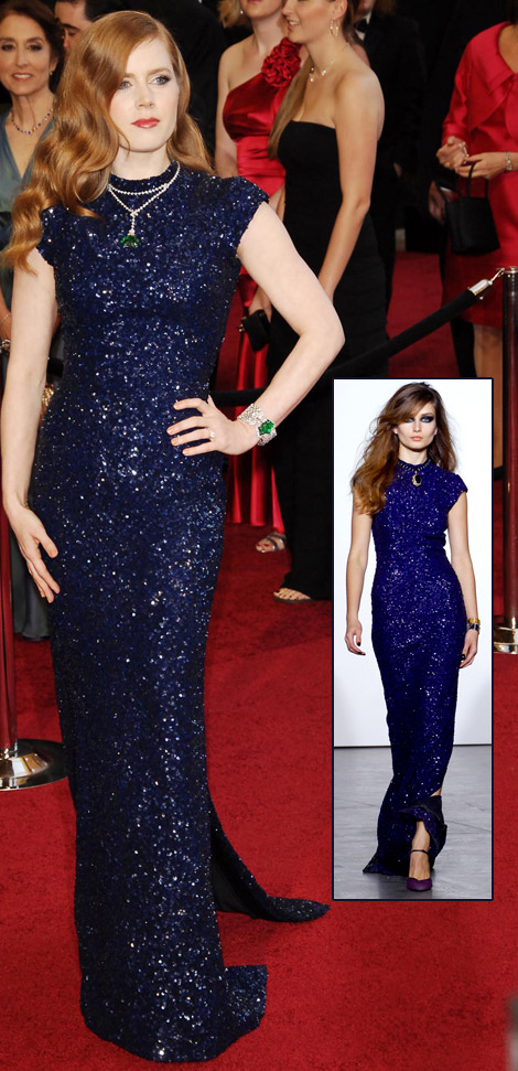 Amy Adams blue Sequined L Wren Scott dress 2011 Oscars
