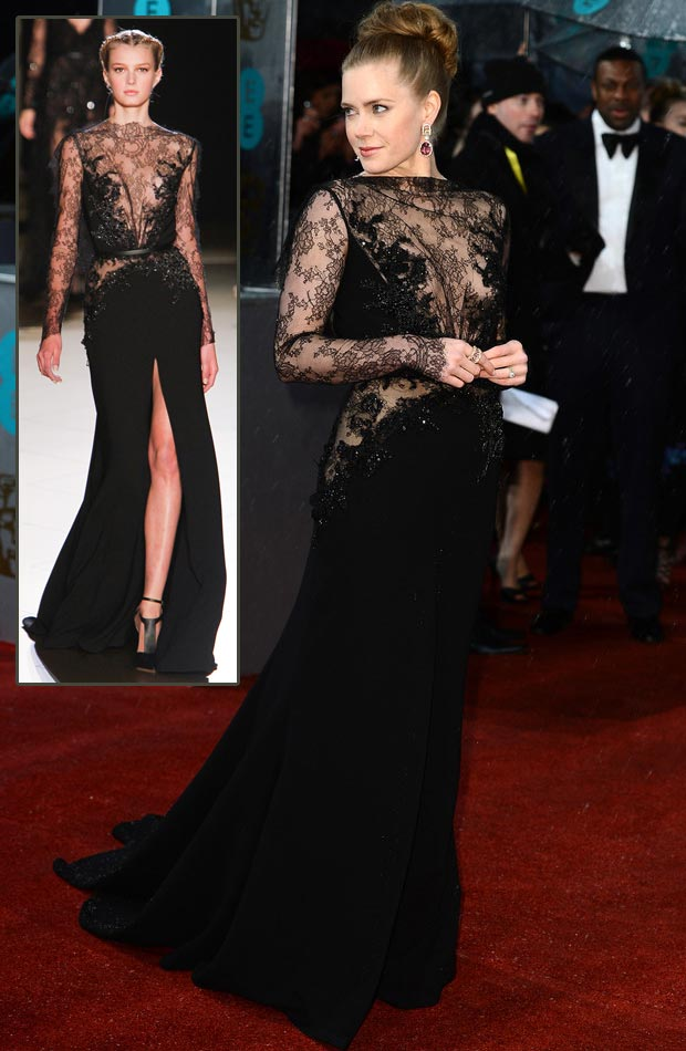 Amy Adams Elie Saab black dress 2013 BAFTA