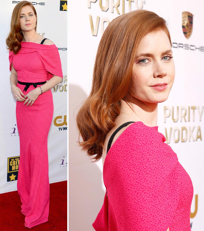 Amy Adams pink dress hair 2014 Critics Choice Awards