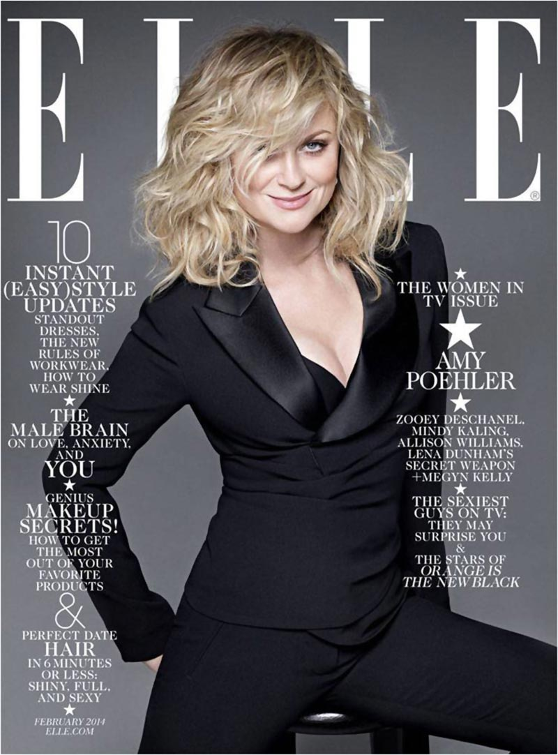 Amy Poehler black suit Elle magazine cover