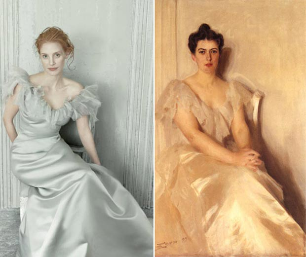 8 Classic Artworks Recreated By Jessica Chastain In Vogue US December 2013