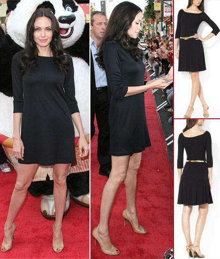 Angelina Jolie black dress at Kung Fu Panda DVD launch