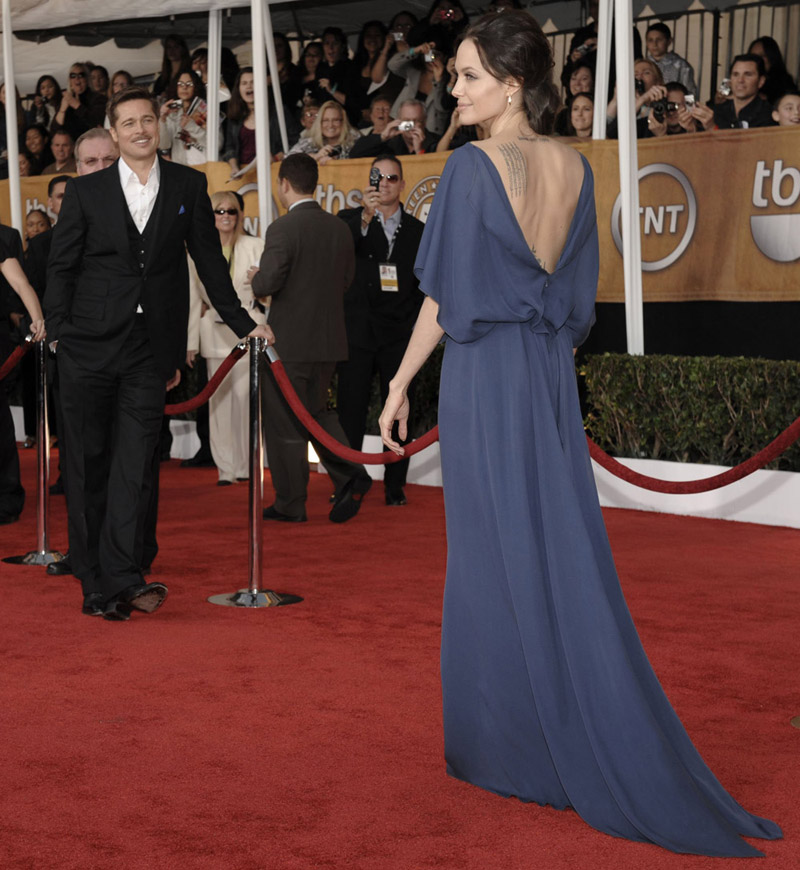 Angelina Jolie blue Max Azria dress SAG Awards 2009 back