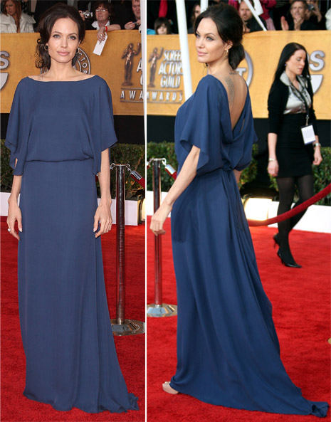 Angelina Jolie blue Max Azria dress SAG Awards 2009