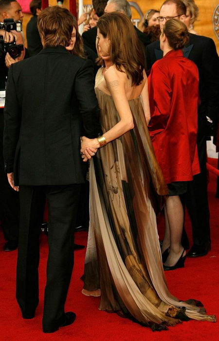 Angelina Jolie and Brad Pitt on the Red Carpet at the SAG 2008 back view