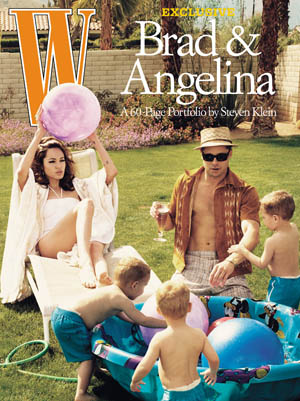 Angelina Jolie and Brad Pitt W Magazine July 2005 cover