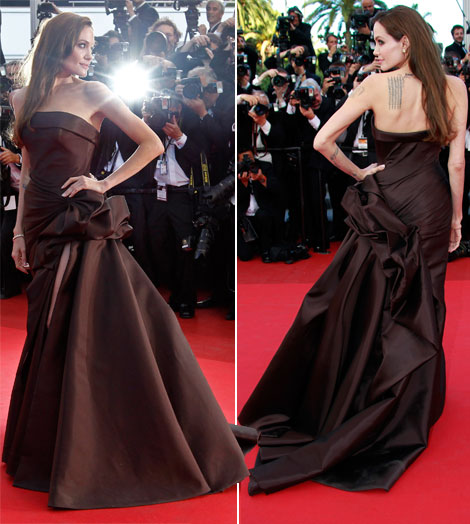 Angelina Jolie brown Atelier Versace dress Cannes 2011