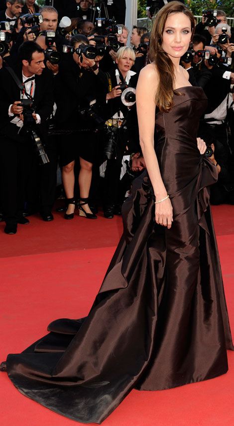 Angelina Jolie Chocolate brown dress cannes 2011
