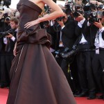Angelina Jolie chocolate brown Versace dress Cannes 2011