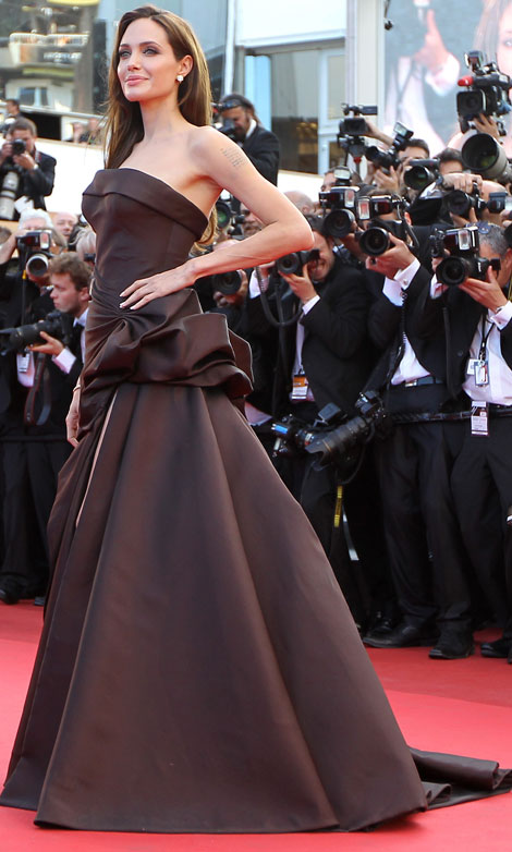 Angelina Jolie's Chocolate Brown Atelier Versace Dress For Cannes 2011