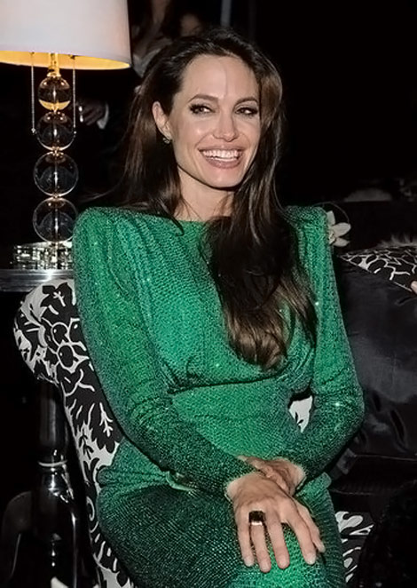 Angelina Jolie emerald green