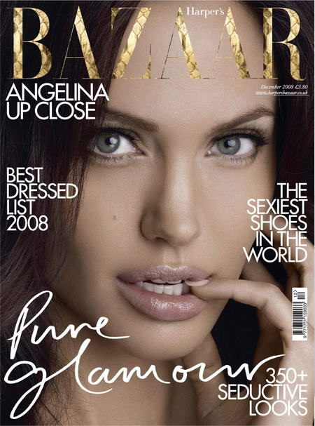 Angelina Jolie Harper s Bazaar December 2008 cover