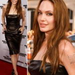 Angelina Jolie Leather dress Inglorious Basterds premiere