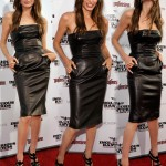 Angelina Jolie Michael Kors black leather dress
