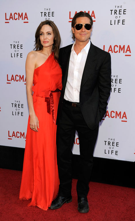 Angelina Jolie red dress Brad Pitt Tree of Life premiere