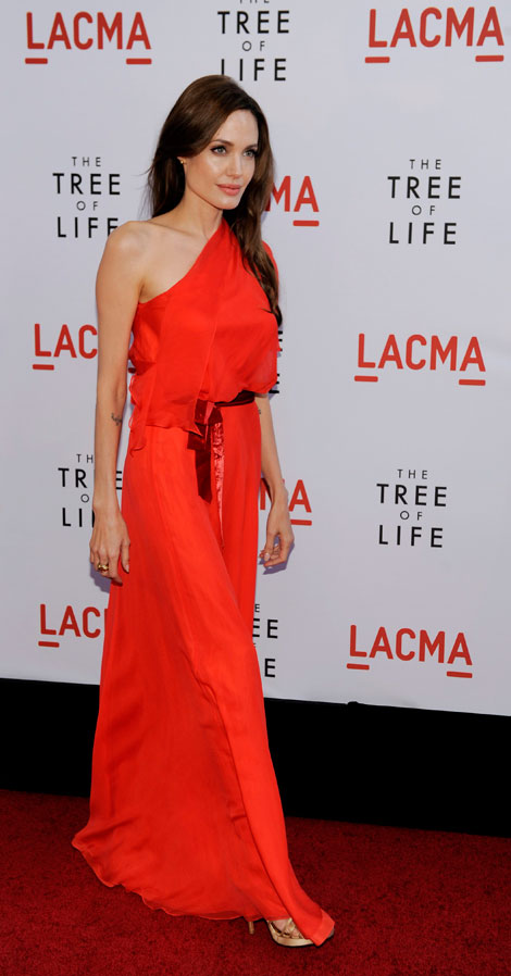 Angelina Jolie's Red One Shouldered Jenny Packham Dress, Tree Of Life LA Premiere