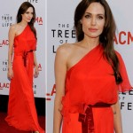 Angelina Jolie Red One Shouldered dress Tree of Life premiere