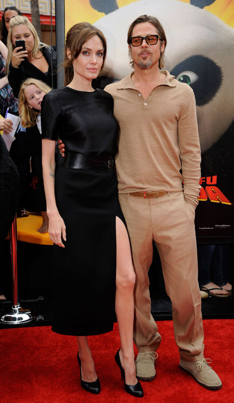 Angelina Jolie shows some leg at Kung Fu Panda 2 premiere