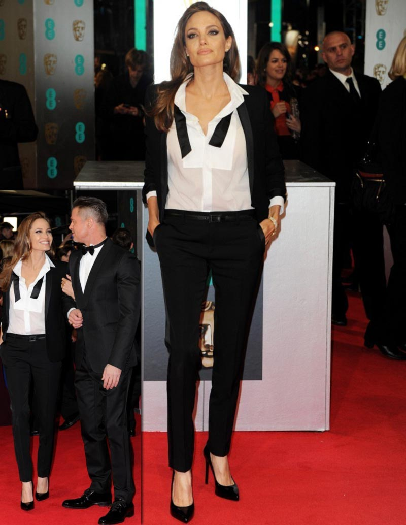 Angelina Jolie tuxedo Bafta Red Carpet Brad Pitt