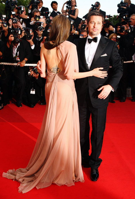 Angelina Jolie Versace nude dress Cannes 2009
