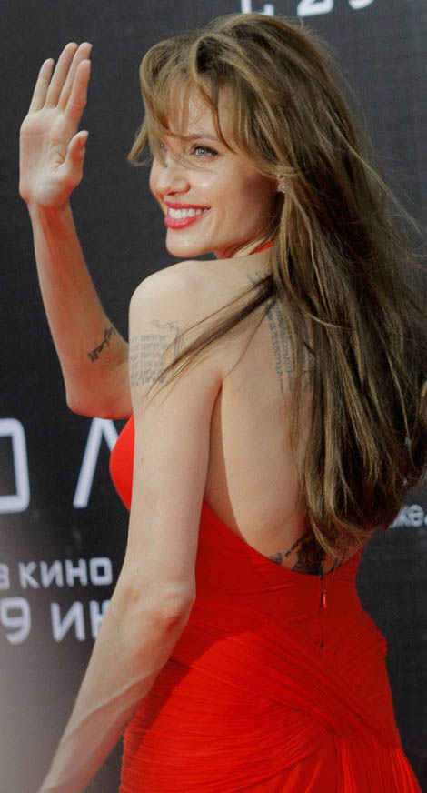 Angelina Jolie Versace Red dress Salt premiere Russia