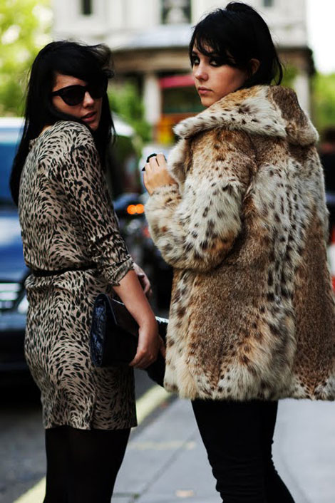 Animal print dress fur coat