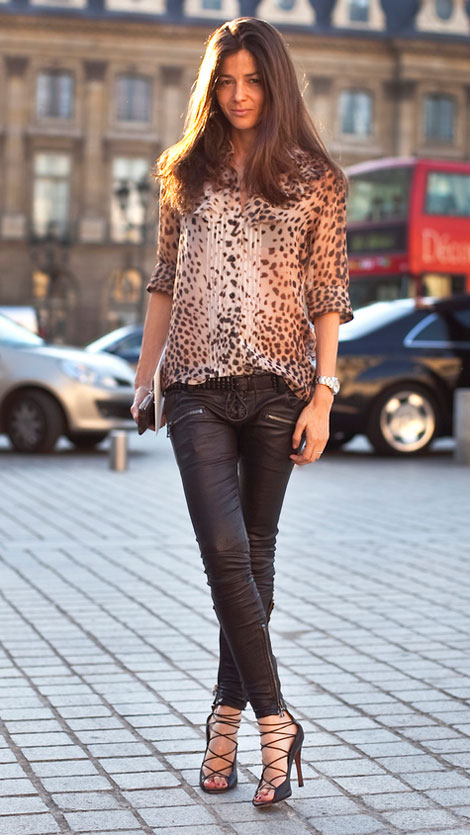Animal Print top black leather pants perfect outfit