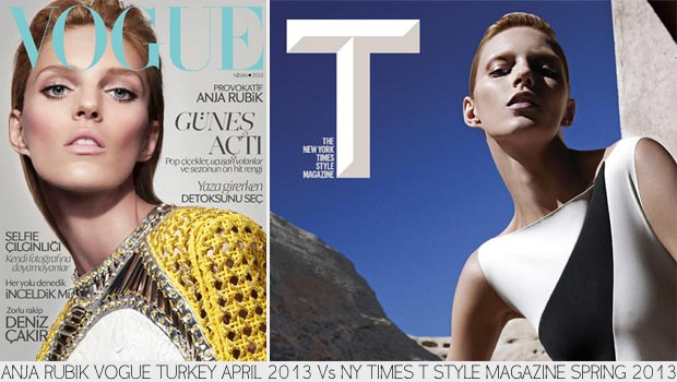 Anja Rubik covers Vogue Turkey April 2013 NY Times T Style S13