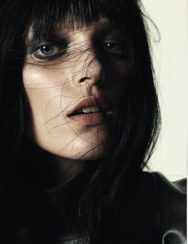 Anja Rubik dark hair Vogue Russia July 2013