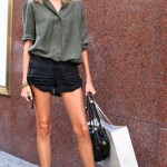 Anja Rubik shorts shirt booties